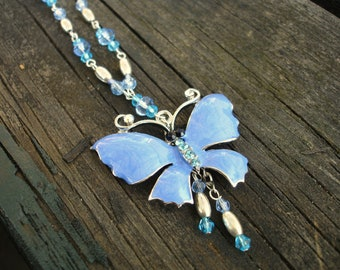 Blue butterfly necklace,blue necklace, butterfly pendant,blue butterfly pendant,gift ideas,gift for her,blue pendant
