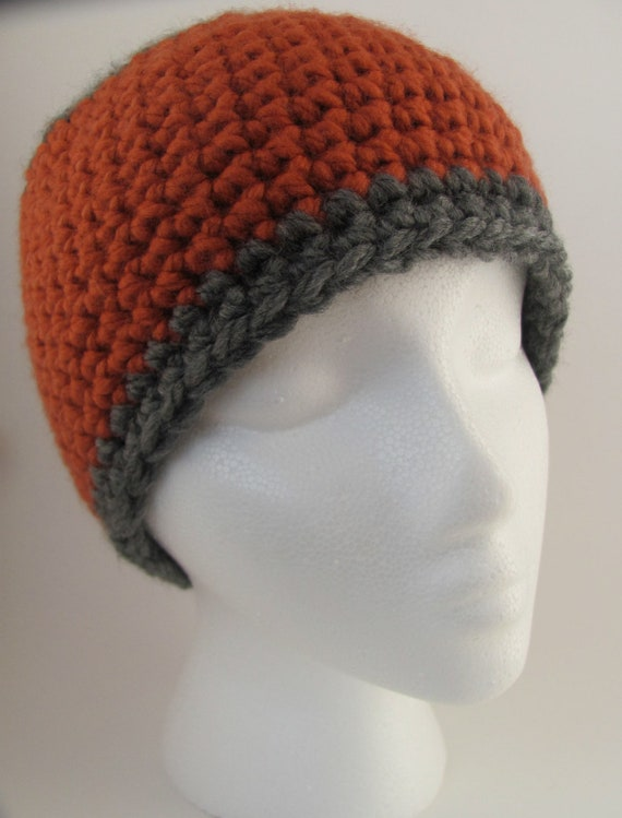 The Henry - Burnt orange and gray beanie hat - Free shipping