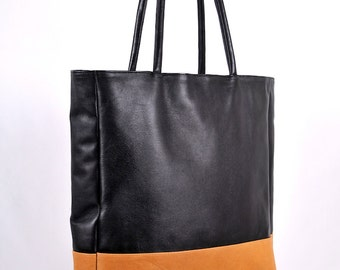 INGENUE. Black leather tote bag / leather shoulder bag / oversized leather tote bag / diaper bag. Available in different leather colors
