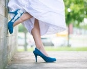 Wedding Shoes  - Teal Blue Wedding Shoes, Teal Heels, Something Blue, Teal Pumps, Blue Bridal Shoes,  with Ivory Lace Applique. US Size 7.