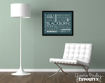 11x14 Framed Print featuring Custom Typography Word Art - Your Words, Your Colors, Your Story - Great for Family, Wedding & Baby