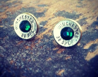 Bullet earrings emerald green brass 38 special bullet casing shell ear rings shooter hunter outdoors gift