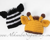ZEBRA and GIRAFFE - Twin Baby Hats - acrylic - photo prop - Made To Order
