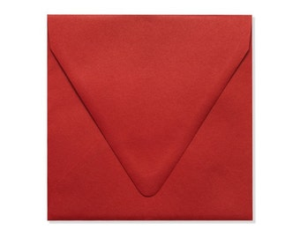 6 1/2 x 6 1/2 Square Contour Flap Envelopes - Ruby Red - Quantity of 50