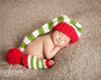 Crochet Christmas Red and Green Stocking Hat and Striped Leg Warmers Set