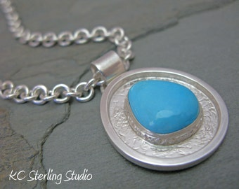 Silversmithed sleeping beauty turquoise and sterling pendant necklace on heavy sterling chain