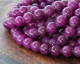 Mountain Jade Beads, Grape Purple, 8mm Round - 15 Inch Strand - eMJR-M11-8