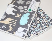 Baby boy burp cloths, set of 2, Baby Zoology and play dot with white Chenille