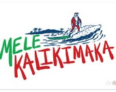 "Christmas Surfing Art Print ""Mele Kalikimaka"""