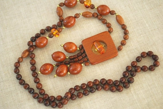 Juniper-Oak wood necklace with amber beads-Nature,handmade,rustic,country-Wood,woodland wedding