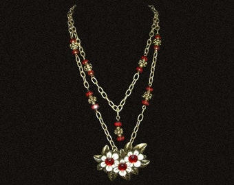 Enamel Flowers Necklace and Earrings Set