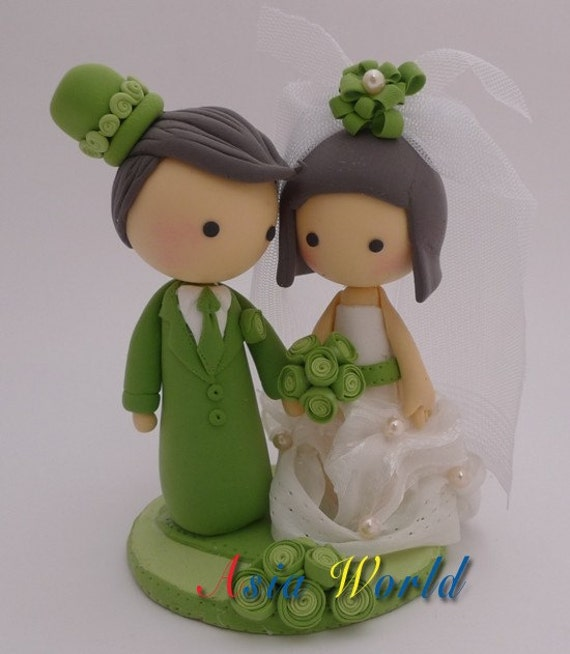 Green Cake Decorations Uk : Items similar to Vintage Green Wedding Cake topper ...