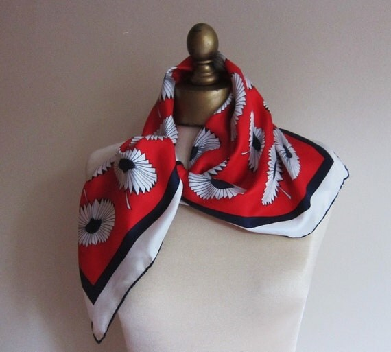 1960s silk scarf red white and blue floral Jaunty and fresh