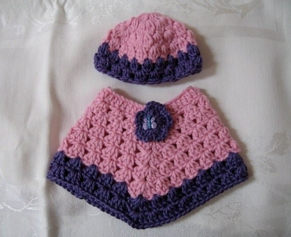 American Girl Crocheted Poncho and Hat Pink Purple
