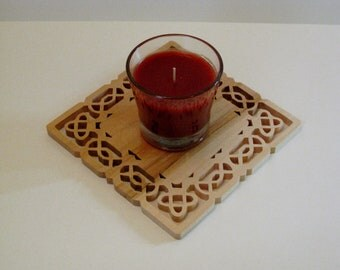 Celtic Scroll Saw Fretwork Candle Trivet Made From Maple