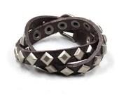 Punk  Leather bracelets,mens leather bracelet double circle,friend leather bangle bracelet,stubbed leather bracelet