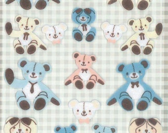 Korean Scrapbook Die-cut Felt Stickers, Teddy Bears in pastel colors (STSM03073)