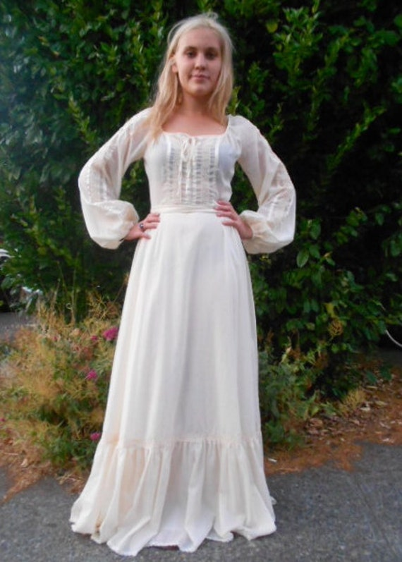 Vintage 1970s White Gunne Sax Style Prairie Gown Size Small