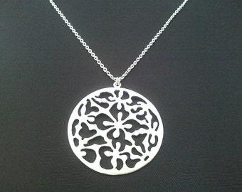 Oriental Flower pendant, charm, Necklace   - Flower of Friendship - Best Friend Gift - High Fashion