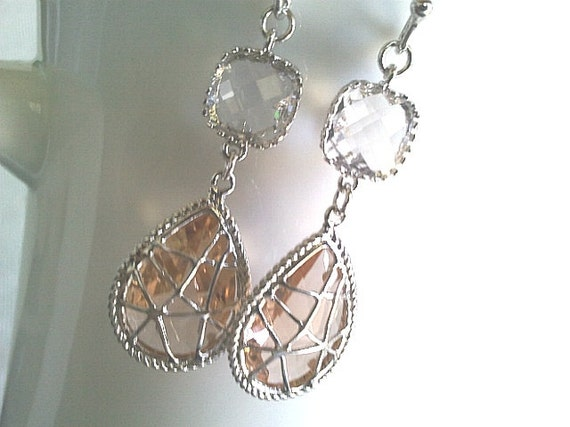 Champagne Earrings, Clear Earrings, Peach Earrings,Bridesmaid Gift,Wedding Jewelry , Drop, Dangle, Glass Earrings, clear wedding