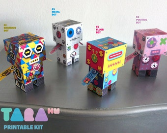 DIY Set of 4 Printable Cutout Robots, TaraBots, DIY Paper Toy, Printable Robots, Cut and Glue Robots, Educational Toy, Didactic, Art Toy