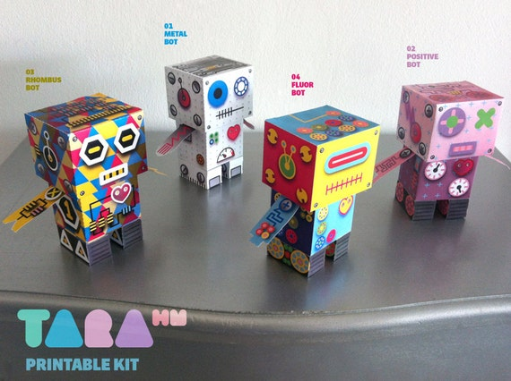 DIY TaraBots, Set of 4 Printable Cutout Robots, DIY Paper Toy, Printable Robots, Cut and Glue Robots, Educational Toy, Didactic, Art Toy