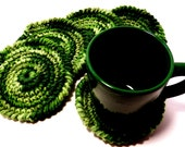Crochet Coasters set of five Beautiful green tones-Warm colors for fall, Spring or Summer