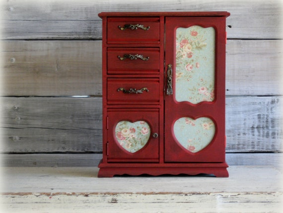 French Dresser, Farm House Armoire, Jewelry Box, Handpainted Barn Red