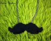 Black Perler Bead Mustache Necklace