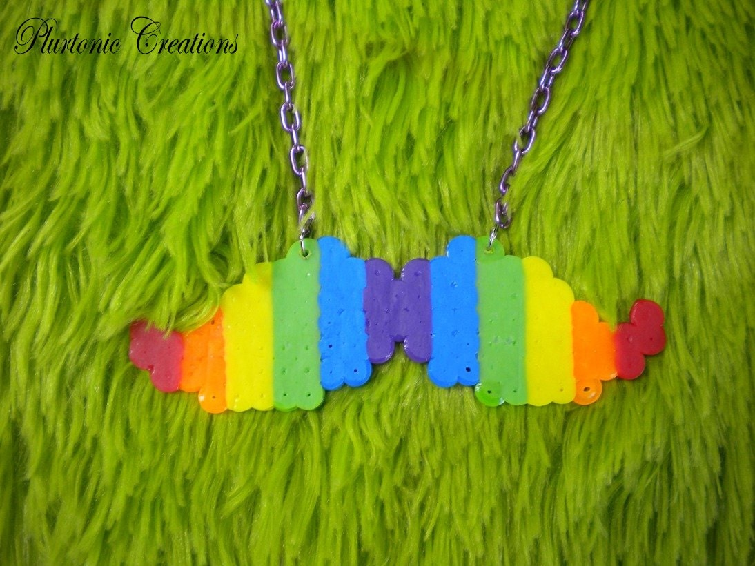 Rainbow Perler Bead Mustache Necklace