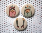 "Badge / Pinback Button 3 Pack 2-1/4"" - Original Illustrations - Little Girls in Cat-Suits"
