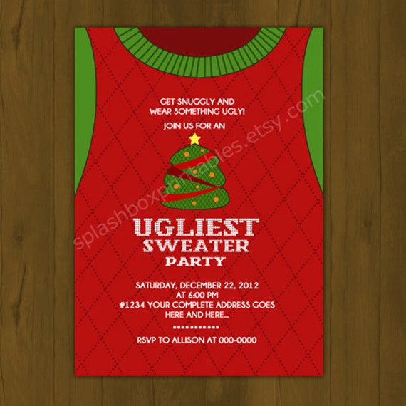 Ugly Sweater Party Invitation is awesome invitations design