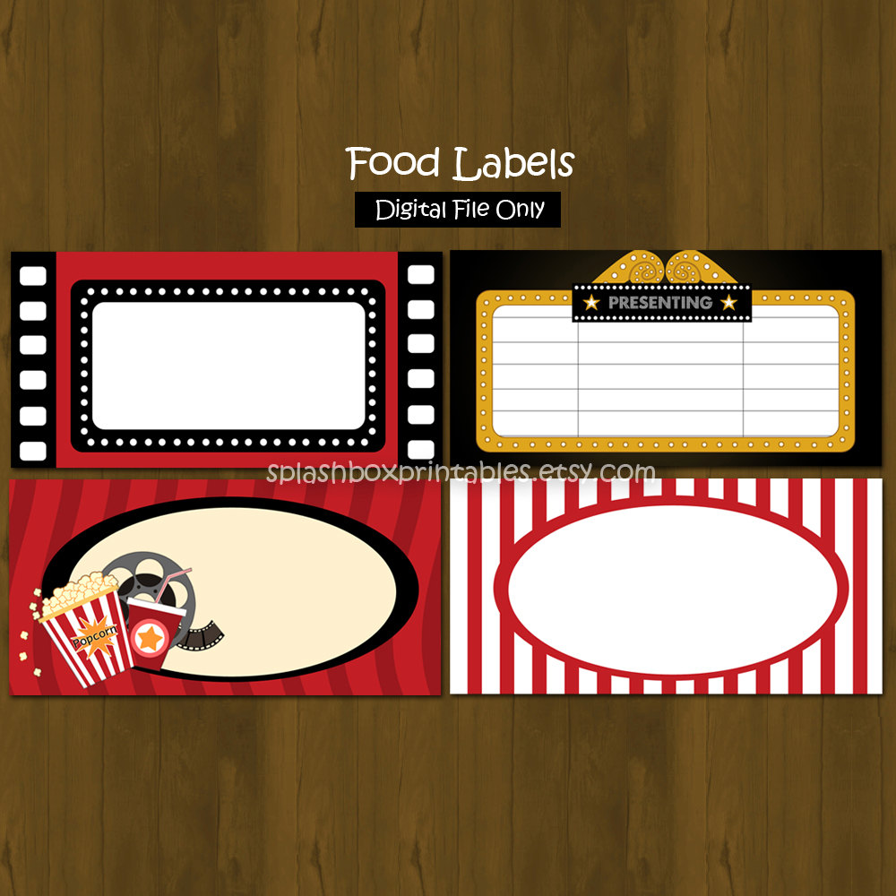 Movie Night Birthday Party Printable Food by SplashboxPrintables