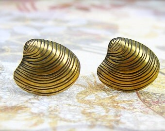 Golden Clam post earrings