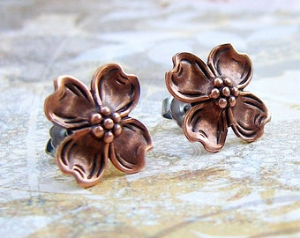Dogwood - antique copper post earrings
