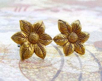 Poinsettia - antique brass post earrings