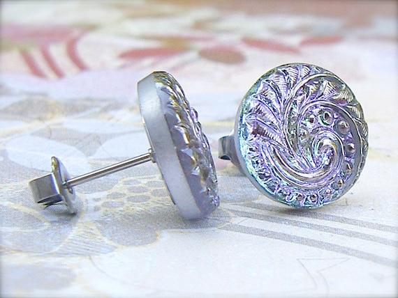 Lilac Swirl - Czech glass button stud earrings