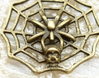 Spider Web and Spider with Skull Charms (4)