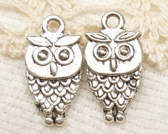 Owl Charms, Two-sided Antiqued Silver (6) - S49