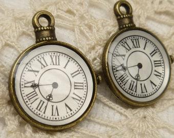 Roman Numerals Pocket Watch Resin Charm, Bronze Tone (4) - A105
