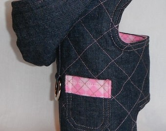 Denim Dog Harness W/Hoodie And Pink Plaid Flannel -Size XXS, XS, S, M