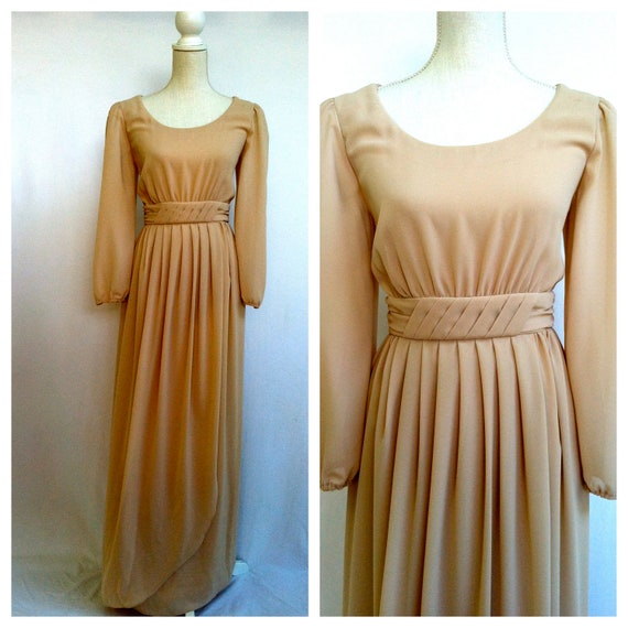 Empire Maxi Gown / Tan Dress / Long Sleeve / Size 6 / 70s Vintage