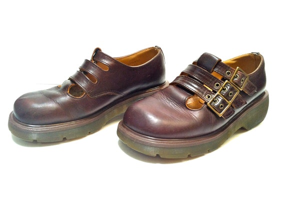 Dr Martens Mary Jane / US Size 8 / Brown Leather / 3 Straps and Buckles