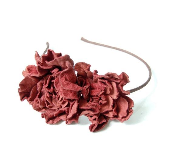 Leather terracota flower headband