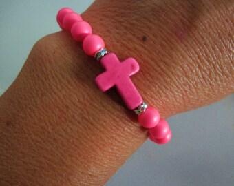 NEON pink cross bracelet