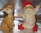 Treasury Item. Rare Mid Century Japan Set Santa and His Deer Salt and Pepper Shakers.