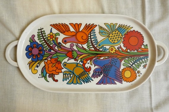 vintage villeroy and boch acapulco pattern oval ceramic tray