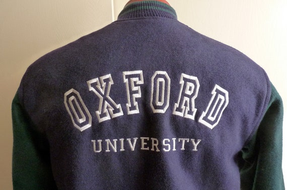 90's Oxford University England, UK dark navy blue contrast dark hunter green sleeve men's unisex wool collegiate/university jacket