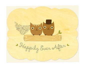 Mr & Mrs Hoot Owl Wood Wedding Congratulations Card • WC1335