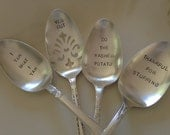 recycled silverware.... Holiday Dinner Serving Set of 4 hand stamped silverplate pieces